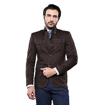 Mandarin collar brown trenchcoat | wessi