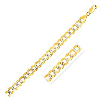 12.18 mm 14k Two Tone Gold Pave Curb Armband