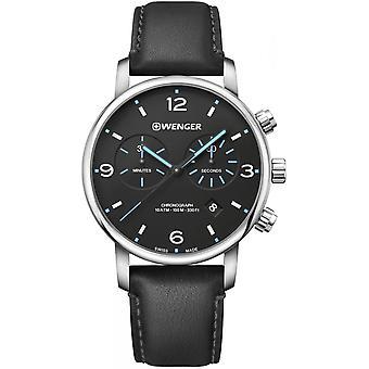 Wenger Black Genuine Leather 01.1743.120 Reloj de Hombre