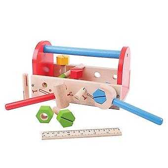 Pretend electronics my wooden tool box with tools