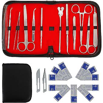 22 Stk Minor Surgery Set chirurgische Instrumente Kit Edelstahl Sezieren Schere Pinzette Pinzette