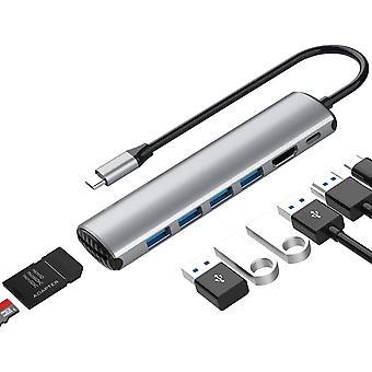 Adaptateur Usb C Hub Macbook Pro, dongle portable 7en1 avec charge USB C