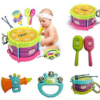 5pcs Fashion Unisex Boy And Girl Drum Musical Instruments Band Kit Kids Games Learning Toy Gift Educational Toys Toy Set