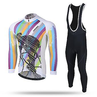 Teleyi Men's Cycling Jersey Long-sleeved Pro Cycling Bib Shorts Gel Conjunto de Roupas