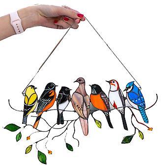 Multicolor Birds On A Wire High Stained Suncatcher Window Panel Bird Series