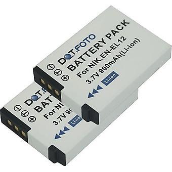 2 x Dot.Foto Nikon EN-EL12 udskiftningsbatteri - 3.7V / 900mAh