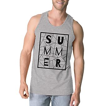 Summer Geometric Mens Grey Sleeveless Tee Trendy Lettering Tanks