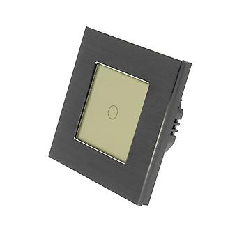 I LumoS Black Brushed Aluminium 1 Gang 1 Way Remote & Dimmer Touch LED Light Switch Gold Insert
