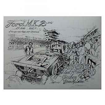Sebastien Sauvadet Le Mans 1966 A Pit Stop For Shelby Print By Sebastien Sauvadet