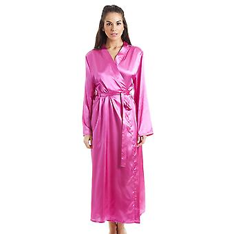 Camille Womens rosa lyx Satin morgonrock