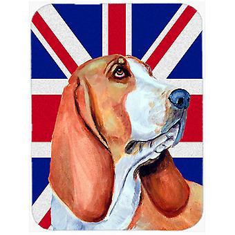 Basset Hound with English Union Jack British Flag Glass Cutting Board Large Size
