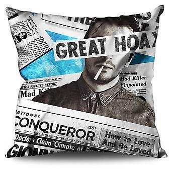 Newspaper Retro Vintage Linen Cushion 30cm x 30cm | Wellcoda