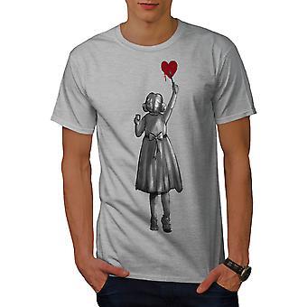 Girl Paint Heart Fashion Men GreyT-shirt | Wellcoda