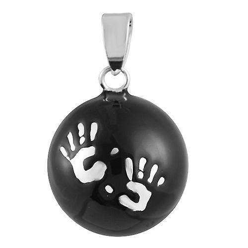 Bola mexicain pendentif Logo Black Silver
