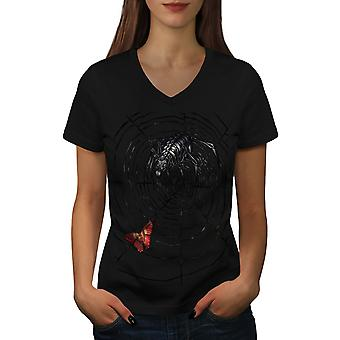 Spider Wild Nature Women BlackV-Neck T-shirt | Wellcoda