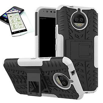 Hybrid sag 2 stykke hvidt for Motorola Moto G5S + hærdet glas taske case cover