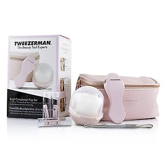 Tweezerman Bright Complexion Prep Set: Complexion Cleansing Brush + Bright Complexion Facial Dermaplaner + No Slip Skincare Tool + Bag - 3pcs + 1 Bag