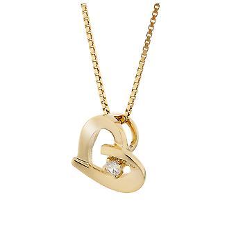 Orphelia sølv 925 anheng med kjede gull farge hjerte med 1 zirkonium