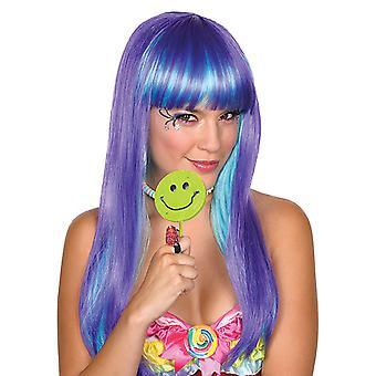 Candy babe paryk lilla lys blå langhåret paryk damer tilbehør Carnival heks