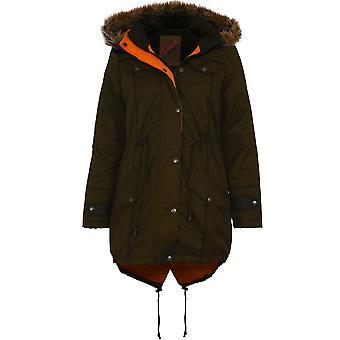 Дамы из искусственного меха с капюшоном рыбий хвост Куртка Куртка женщин стеганые пальто теплая зима