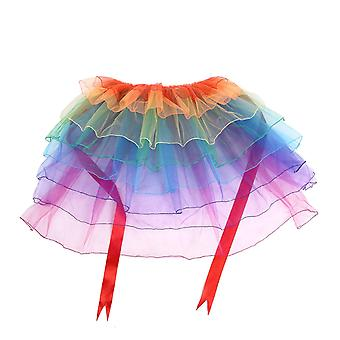 TRIXES Rainbow Tutu Tail Front Ribbon Tie Novelty Fancy Dress and Pride Events