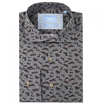 Tresanti Grey Bike Print Cotton Mens Regular Fit Shirt