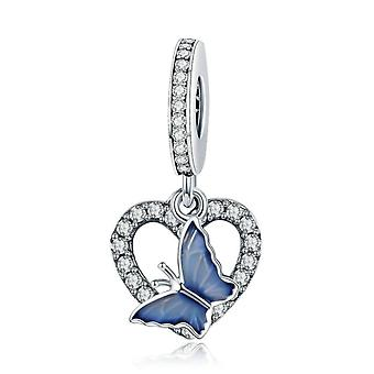 Sterling silver pendant charm Blue butterfly with heart