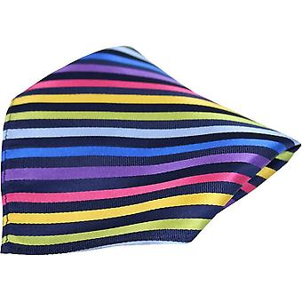 Posh and Dandy Thin Striped Luxury Silk Pocket Square - Black/Multi-colour