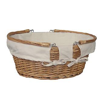 Columpio grande manija de mimbre cesta Shopper blanco forro