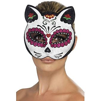 Smiffy's Sugar Skull Cat Glitter Eyemask