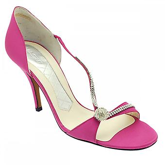 Magrit Cerise Strappy Peep Toe Diamond Trim