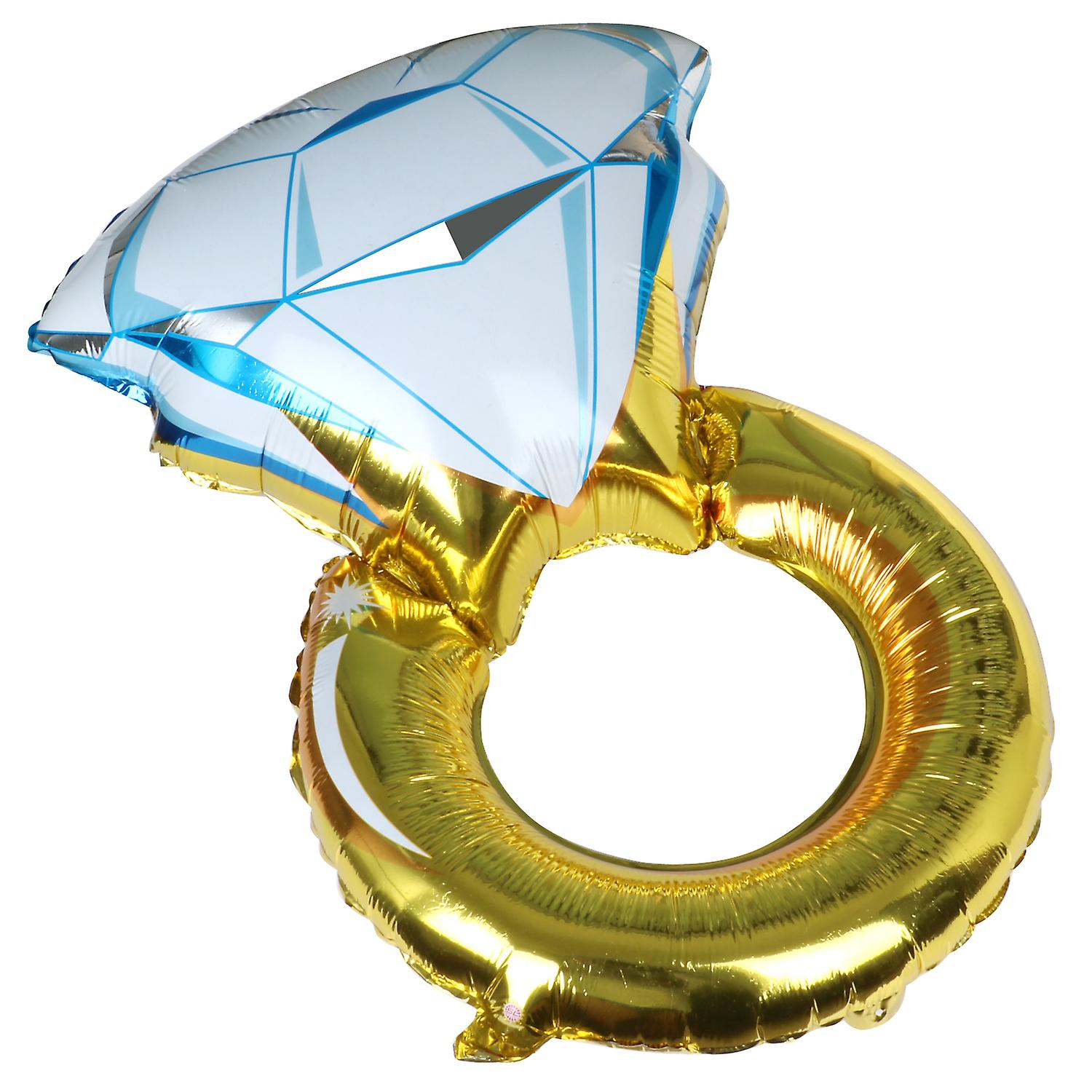 Large Engagement Ring Balloon Gold Blue Party Celebration - By TRIXES