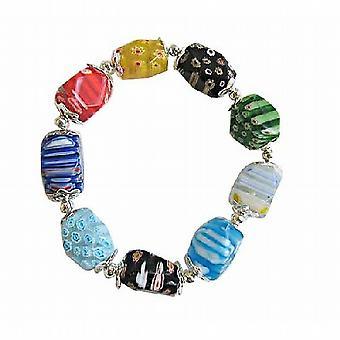 Kleurrijke Millefiori kralen rekbare armband w / Bali zilveren Spacer