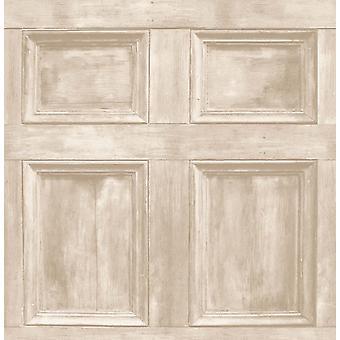 Fina decoración madera Panel puerta realista crema madera Wallpaper