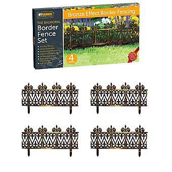 4pc Interlocking Balmoral Lawn Edging Bronze Garden Border Fence Set Flower