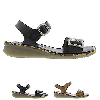 Womens Fly London Comb Bridle Open Toe Cut Out Buckle Low Wedge Sandals
