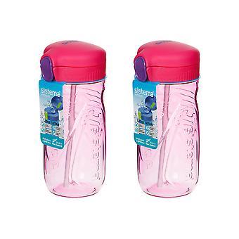 Sistema-Satz von 2 Quick Flip Flaschen 520ml, Pink