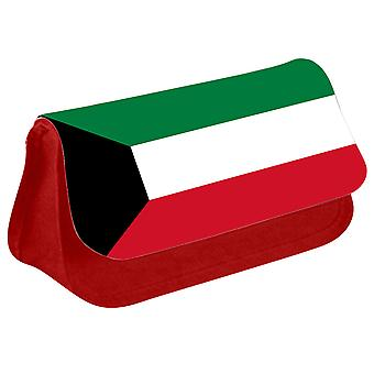 Kuwait Flag Printed Design Pencil Case for Stationary/Cosmetic - 0091 (Red) by i-Tronixs