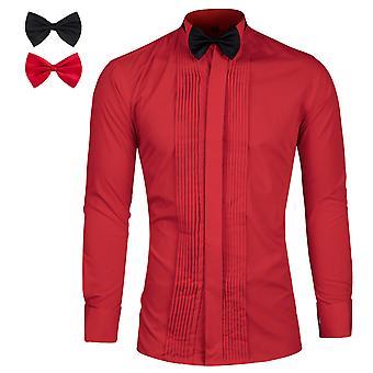Allthemen Men's Tuxedo Long Sleeve Shirt Cotton Blend Jacquard Dress Shirt