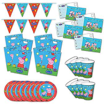 Peppa Wutz 2 party box original children's birthday 34-piece Deco Peppa Pig party package