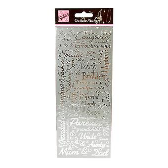 Anita's Outline Peel Off Craft Stickers - Couples Silver