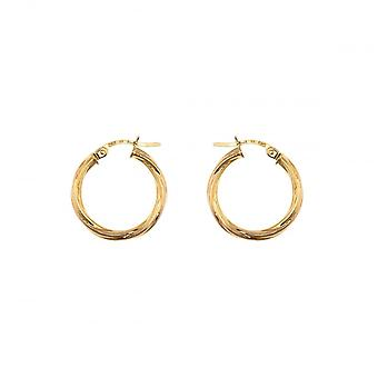 Eternity 9ct Gold Round Twisted Creole Hoop Earrings