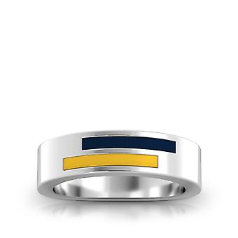 Murray State University Sterling Silver Asymmetric Enamel Ring In Blue and Yellow