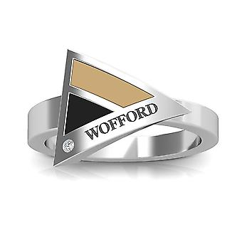 Wofford College Engraved Sterling Silver Diamond Geometric Ring In Tan and Black