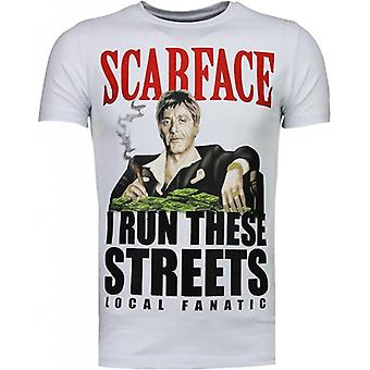 Scarface Boss - Rhinestone T-shirt - Wit