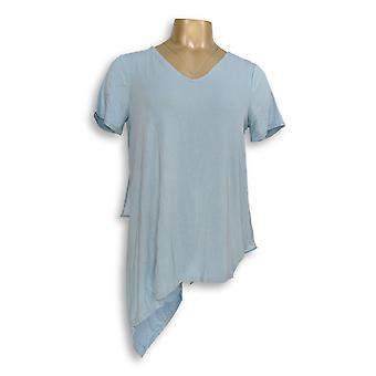 Lisa Rinna Collection Women's Top XS V-Neck Top w/ Chiffon Blue A303168 PTC