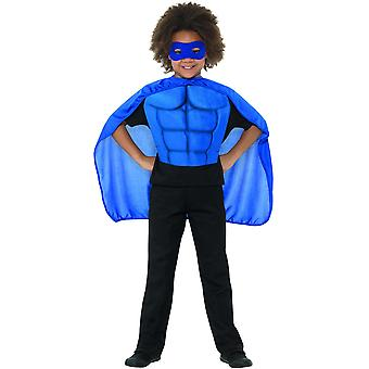 Kids Super Hero kit Super Hero Blue med kostume øjenmaske skum brystplade og Cloak Kids kostume
