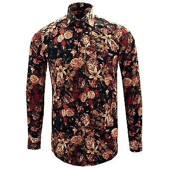 Guide London Deep Floral Print Pure Cotton Long Sleeve Mens Shirt