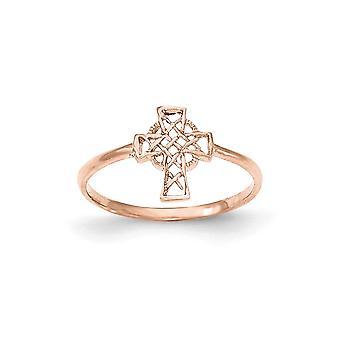 Anello croce celtica oro rosa lucidato 14k