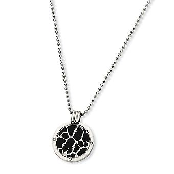 Titanium Polished Engravable Fancy Lobster Closure with Black Enamel and 1/20ct. Diamond Necklace 24 Inch Jewelry Gifts